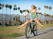 Beautiful Woman on a Bicycle, Candid Fun