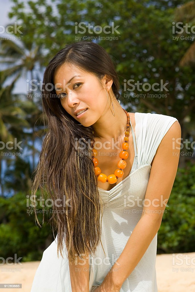 Beautiful Woman on Beach royalty-free stock photo