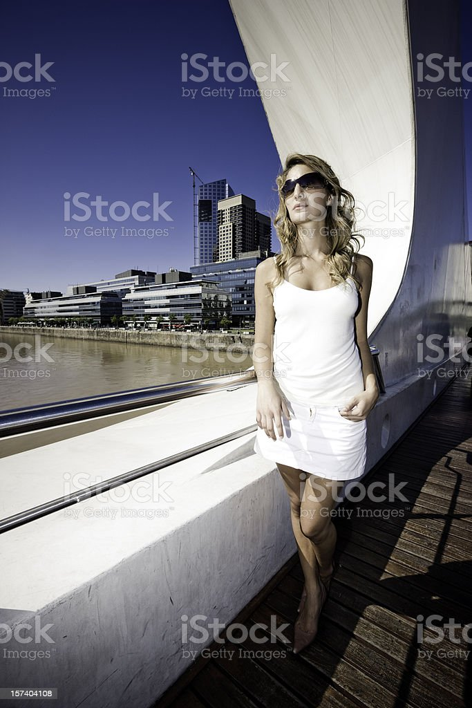 Beautiful Woman on Bridge royalty-free stock photo