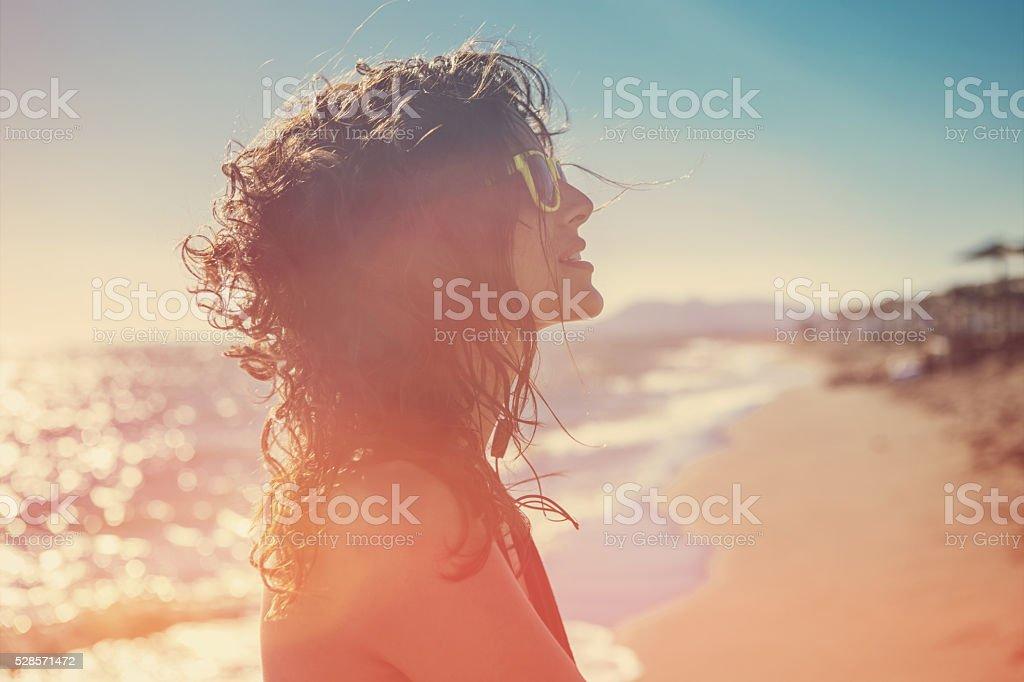 beautiful woman on hot summer day stock photo