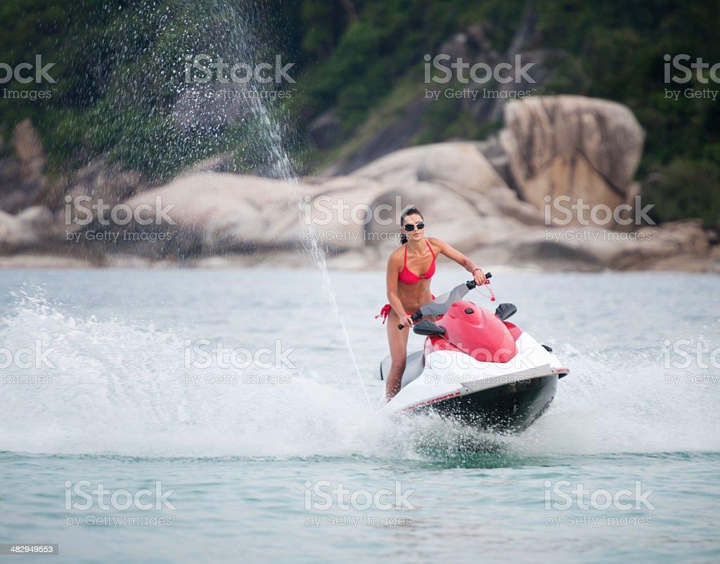 Beautiful woman on Jet Ski / Waverunner stock photo