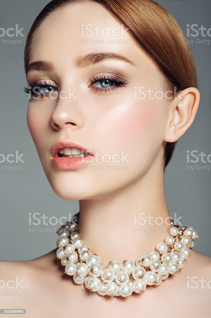 Beautiful woman on light background stock photo
