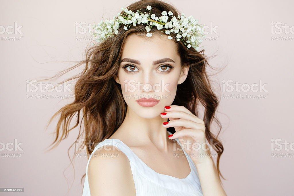 Beautiful woman on light background stock photo