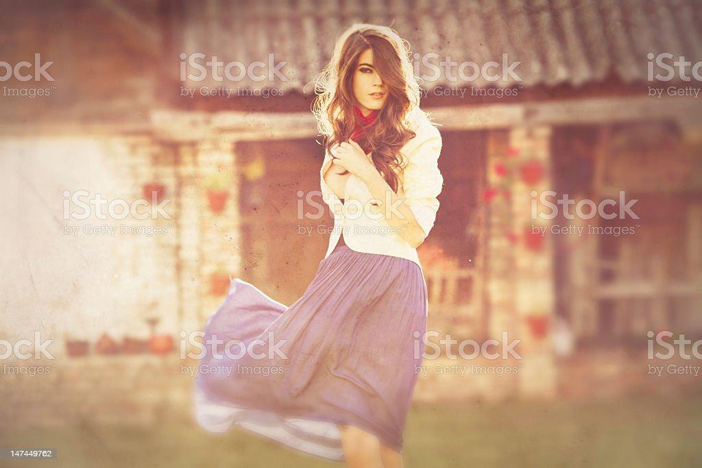 Beautiful Woman On Sunset stock photo