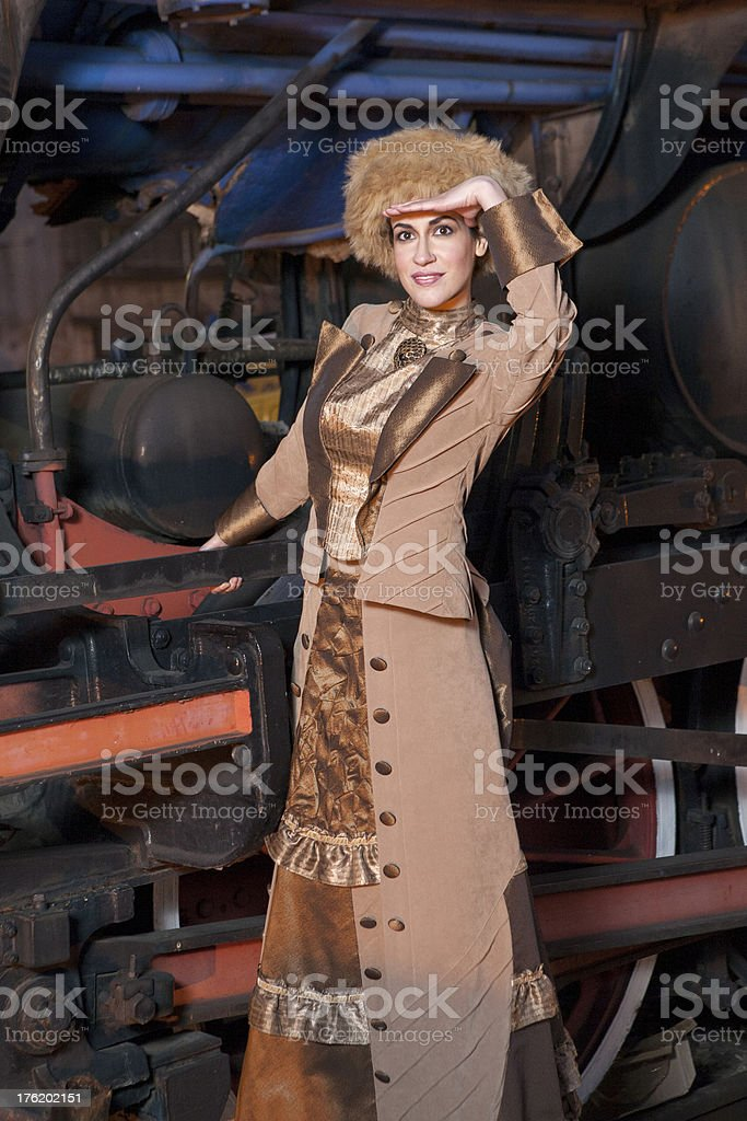 beautiful woman on the train royalty-free stock photo
