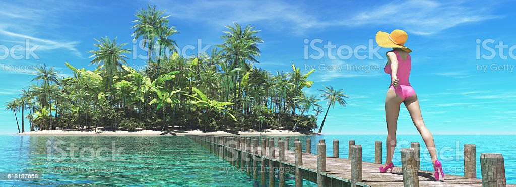 Beautiful woman on tropical beach stock photo