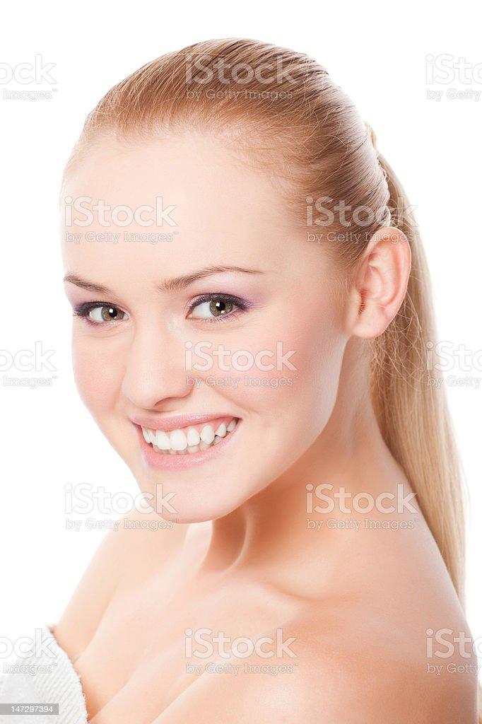 Belle femme sur fond blanc photo libre de droits