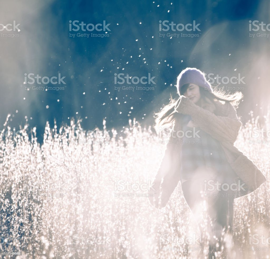 Beautiful woman out for a walk royalty-free stock photo