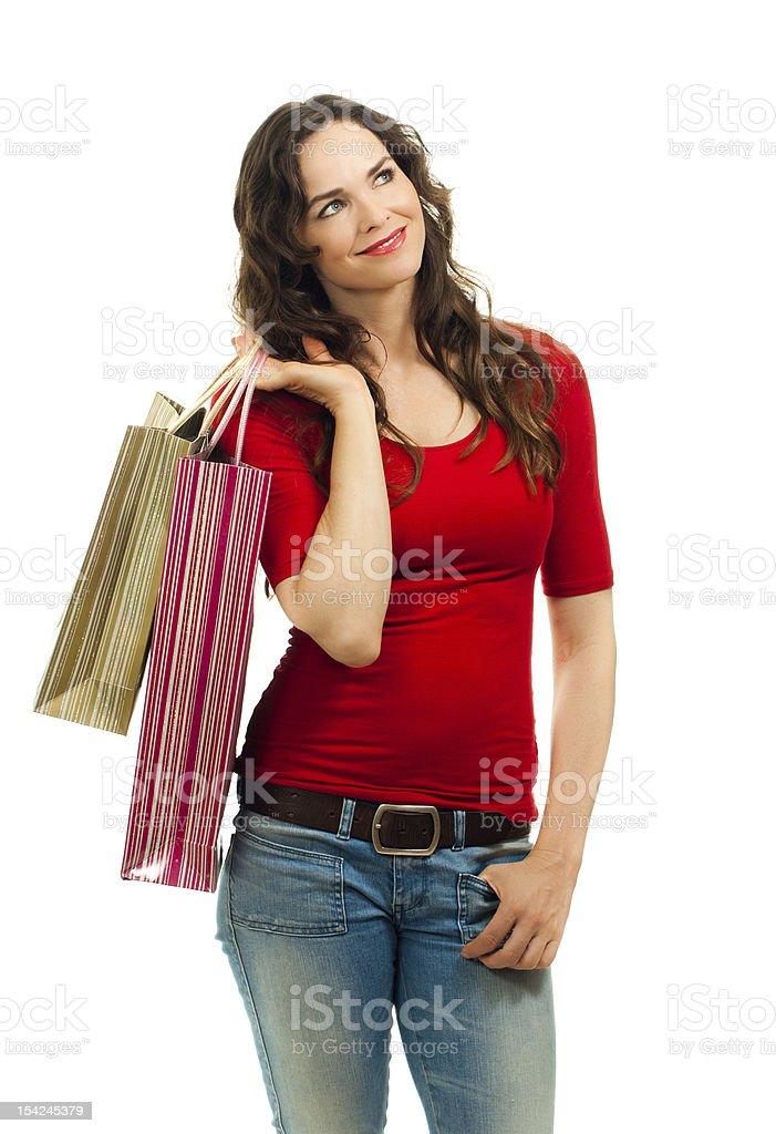 Beautiful woman out shopping royalty-free stock photo