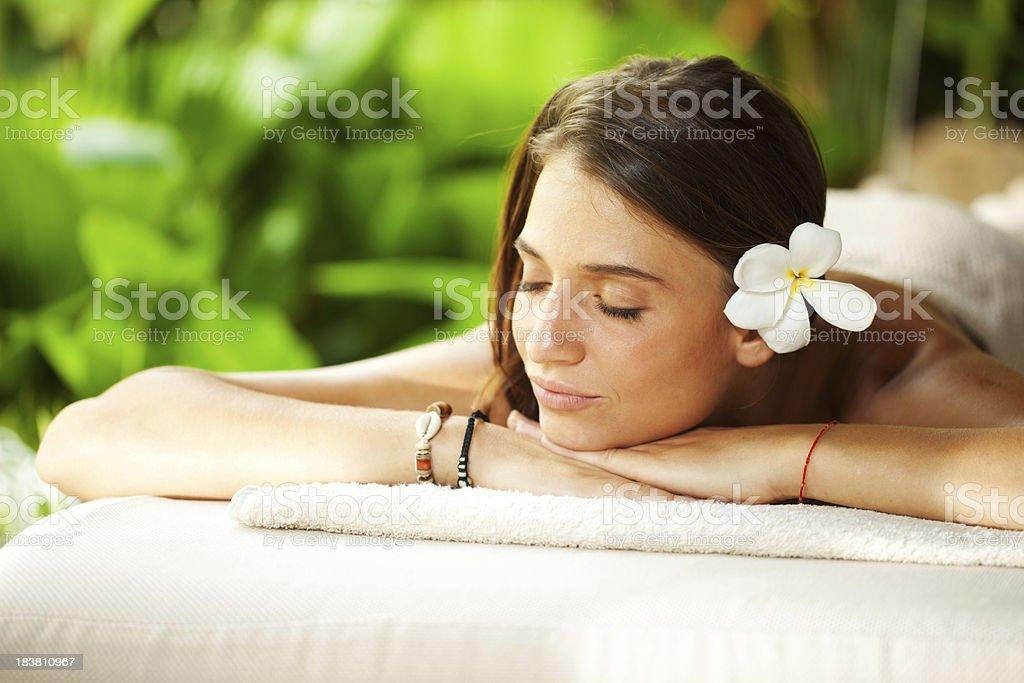 Beautiful woman outdoor on spa massage stock photo