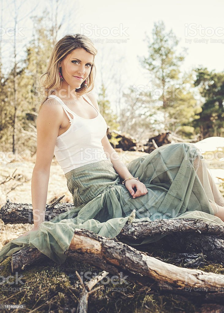 Beautiful woman outdoors in spring royalty-free stock photo