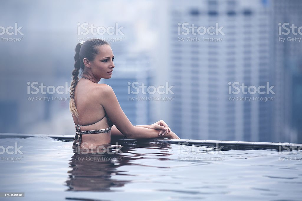Beautiful Woman Overlooking City in Singapore stock photo