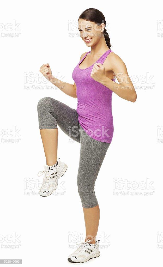 Beautiful Woman Performing Aerobics stock photo
