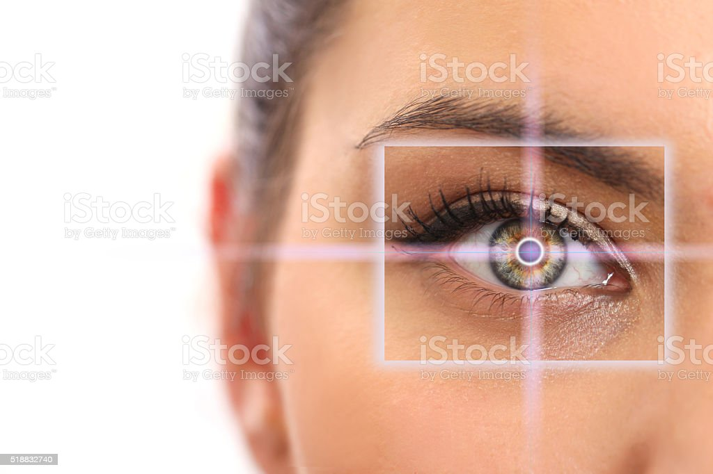 beautiful woman pointing to eye stock photo