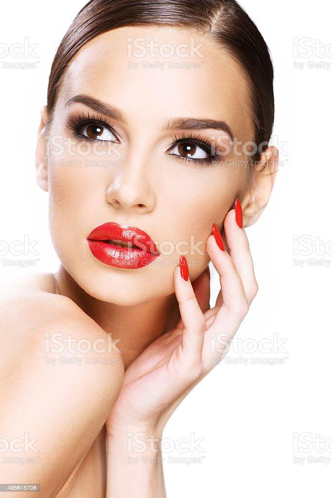 Beautiful woman portrait, beauty on white background stock photo