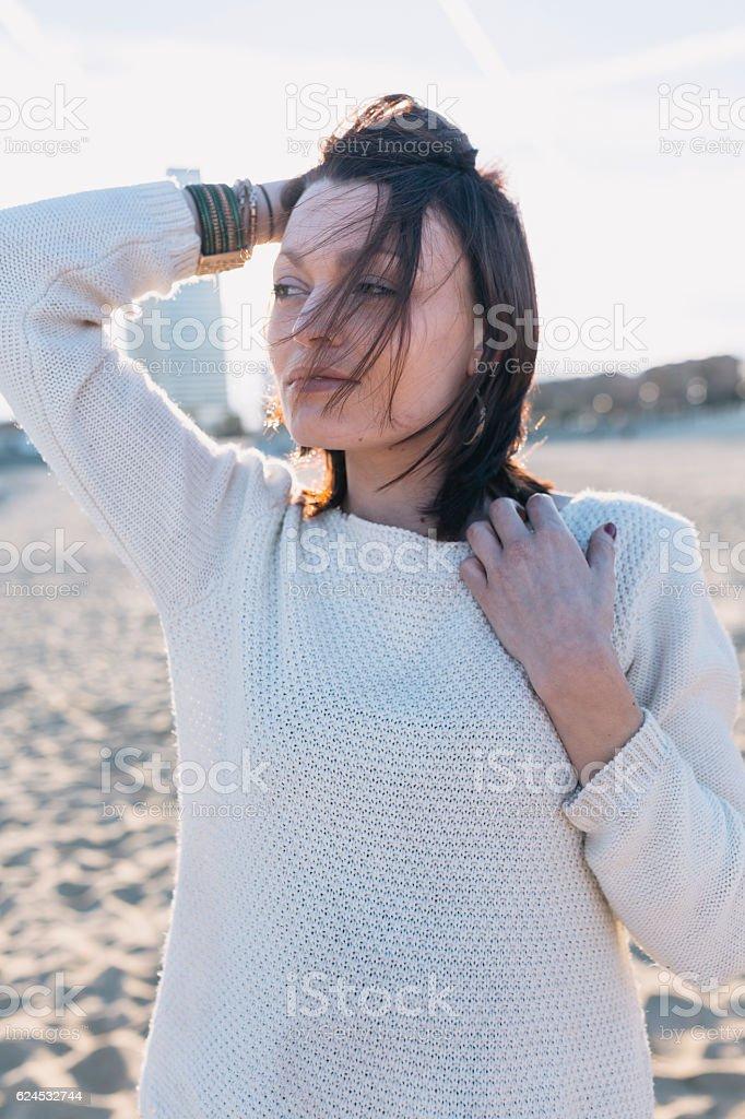 Beautiful Woman Portrait by Seashore stock photo