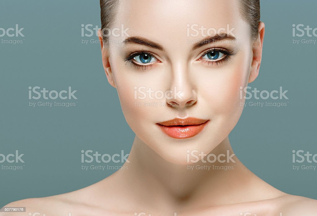 Beautiful woman portrait face close up studio gray background royalty-free stock photo