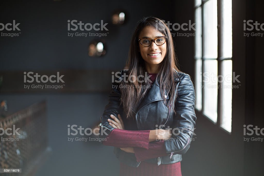 Beautiful woman portrait in design interior stock photo