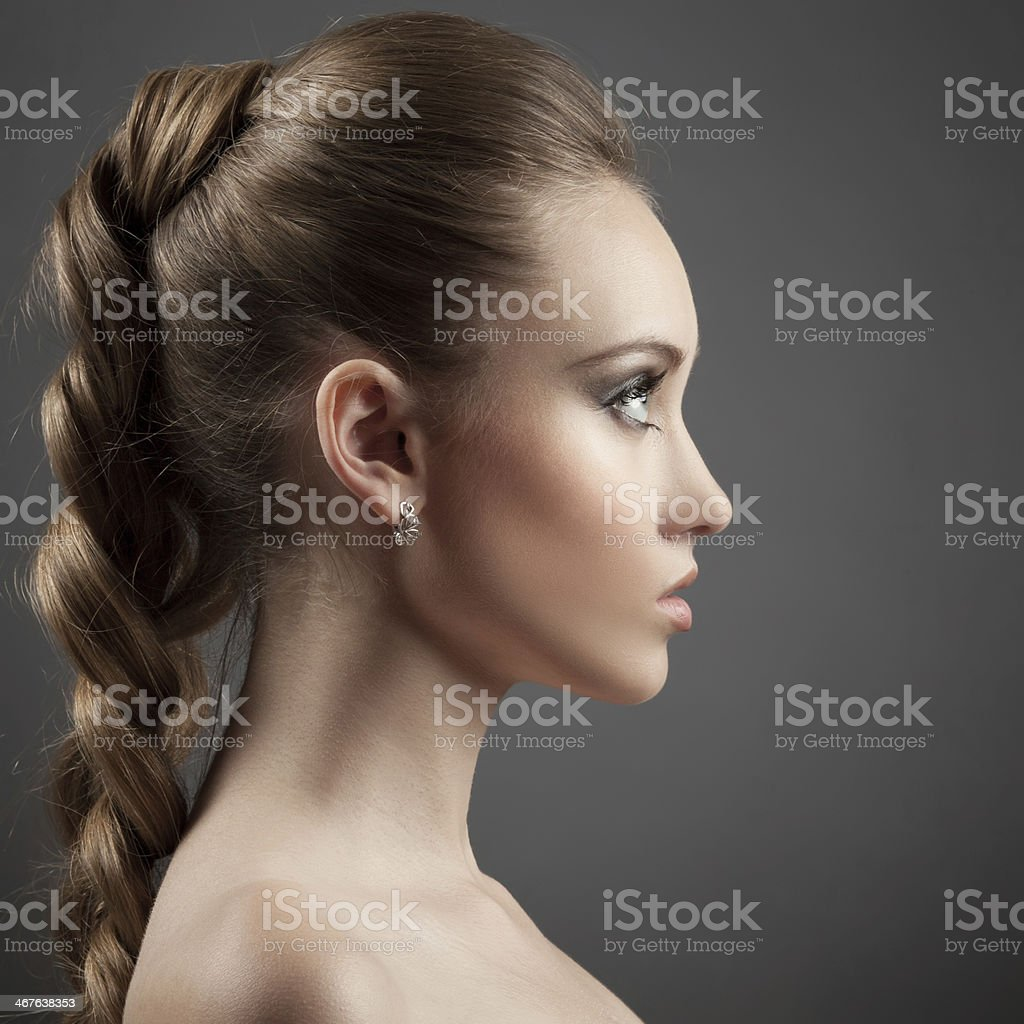 Beautiful Woman Portrait. Long Brown Hair royalty-free stock photo