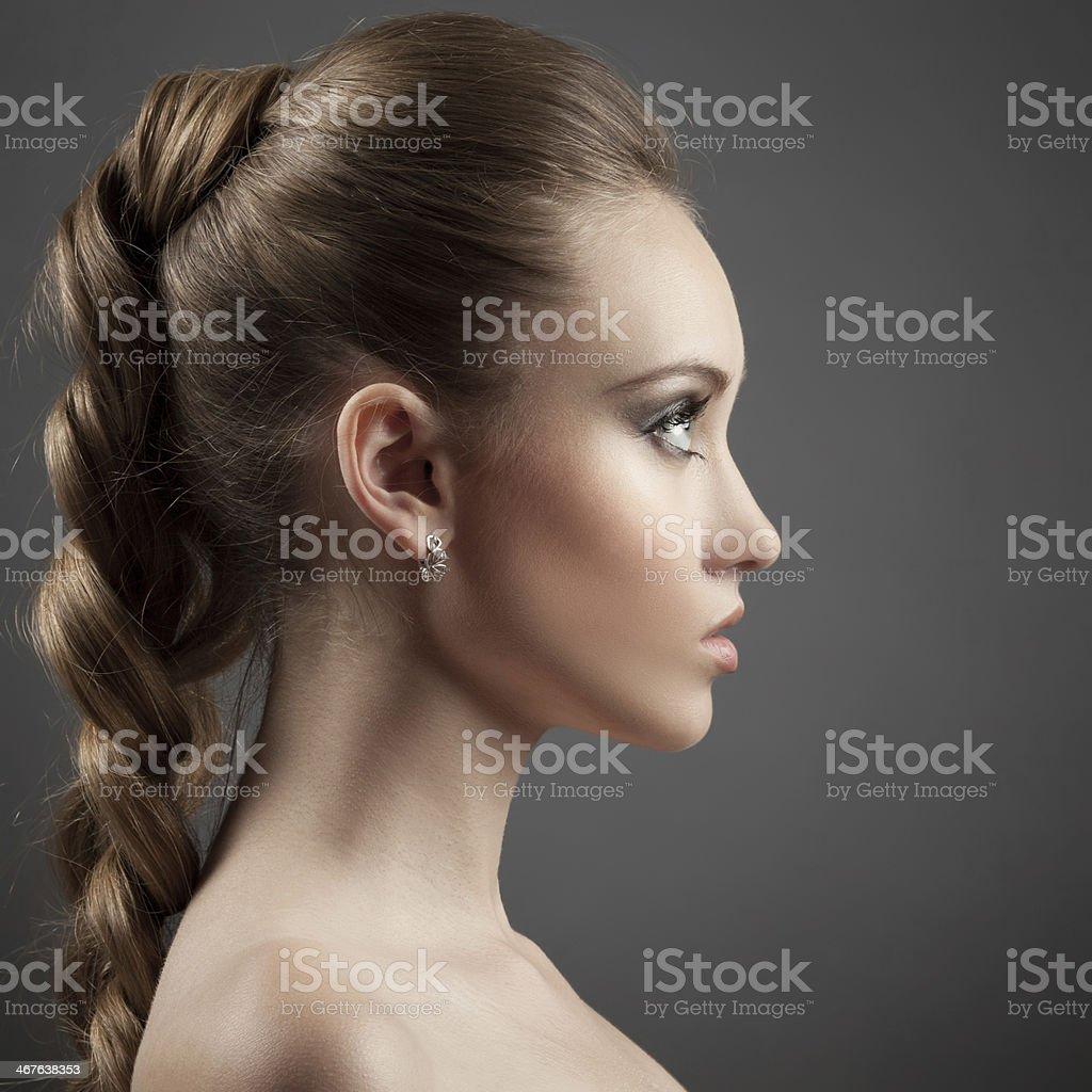 Beautiful Woman Portrait. Long Brown Hair stock photo