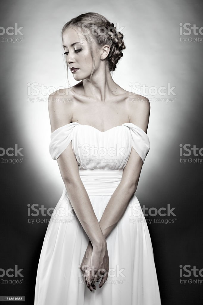 Beautiful  woman portrait looking down stock photo