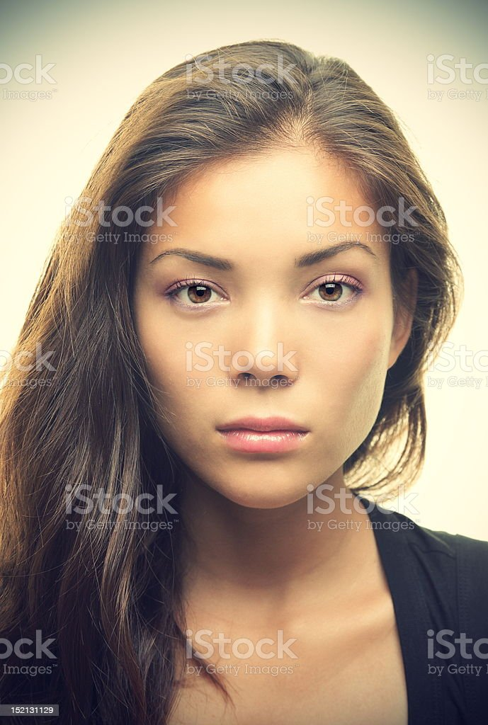 Beautiful woman portrait - serious look royalty-free stock photo