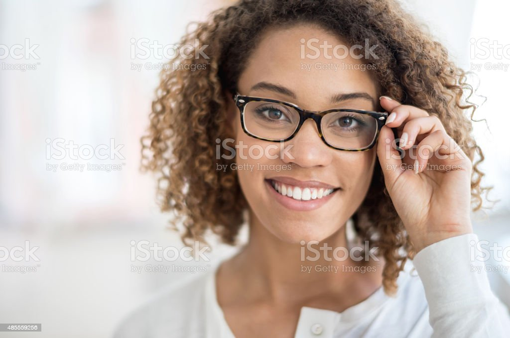 Beautiful woman portrait wearing glasses stock photo