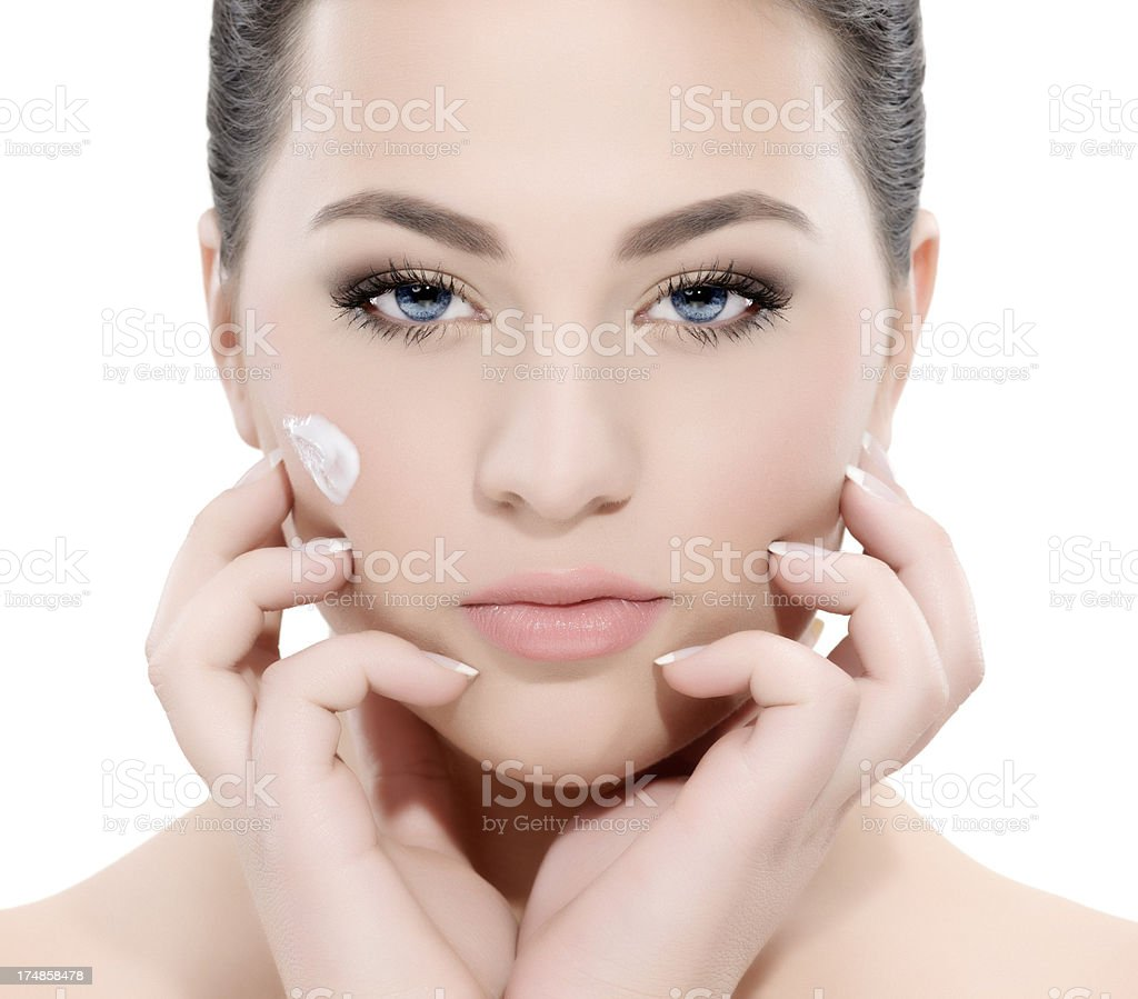 beautiful woman portrait with face cream royalty-free stock photo