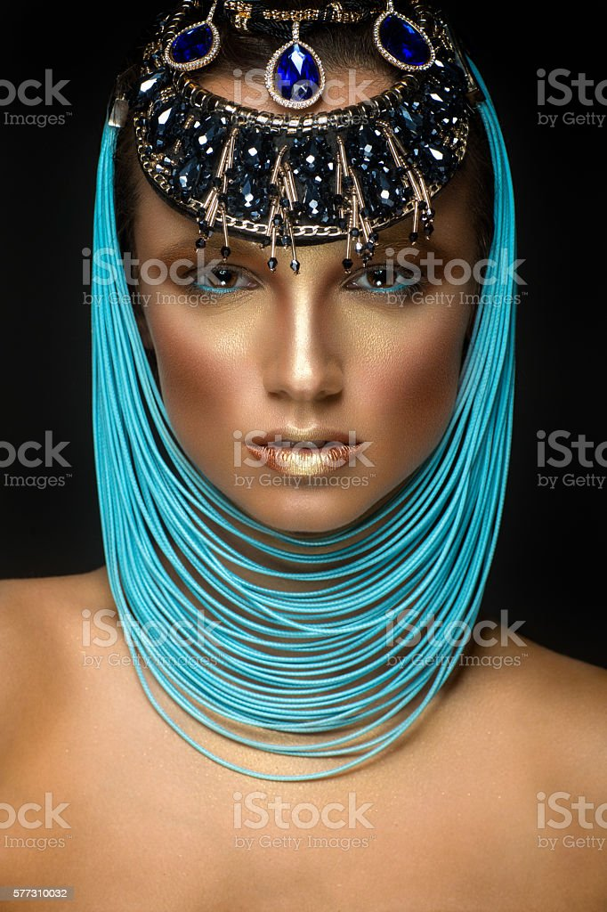 Beautiful woman portrait with jewelry in egyptian style stock photo