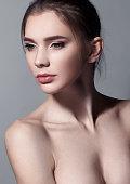 Beautiful woman portrait with natural makeup