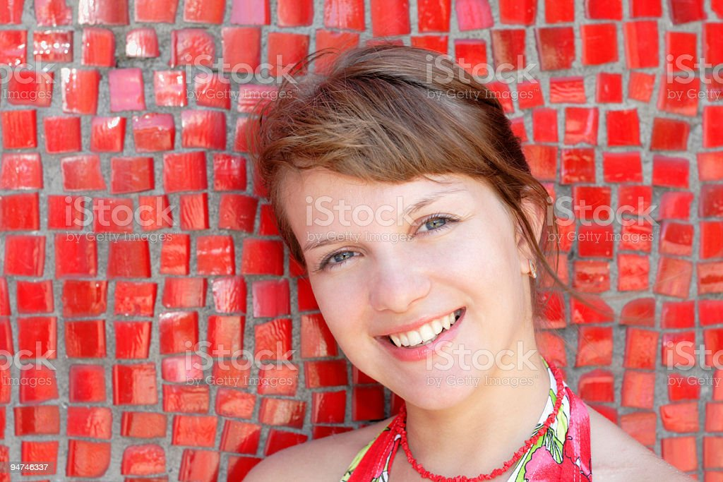 beautiful woman posing for the camera stock photo