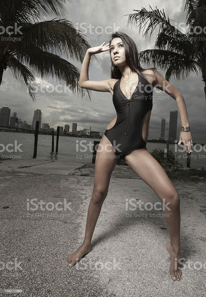 Beautiful woman posing in a bathing suit royalty-free stock photo