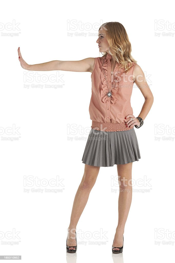 Beautiful woman posing - STOP stock photo