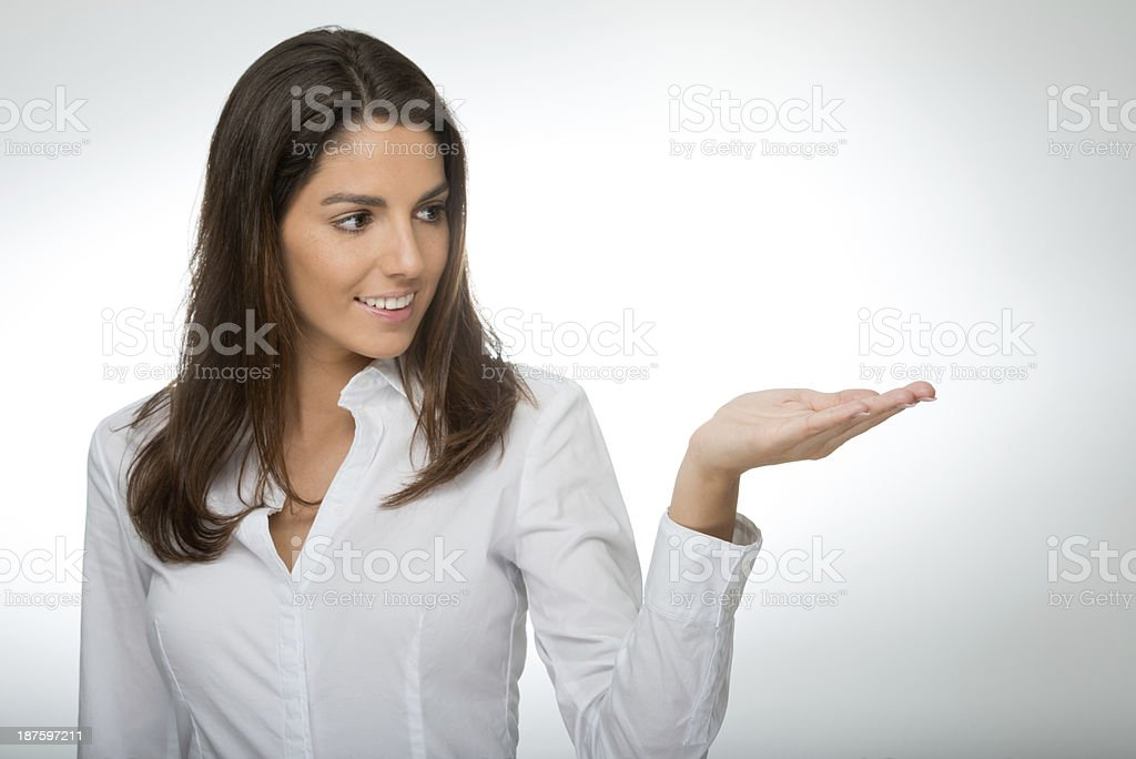 Beautiful Woman presenting Copy Space royalty-free stock photo