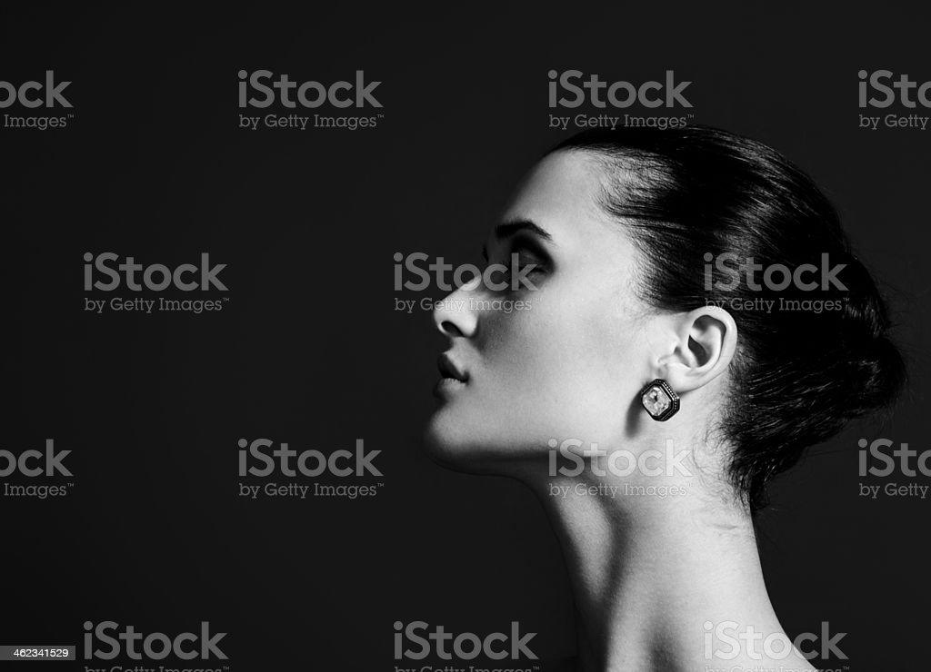 Beautiful woman profile stock photo