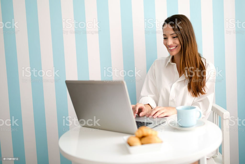Beautiful woman reading news stock photo