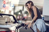Beautiful woman refueling the gas tank at fuel pump.