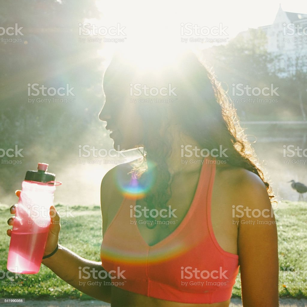 Beautiful Woman Relaxing After Workout stock photo
