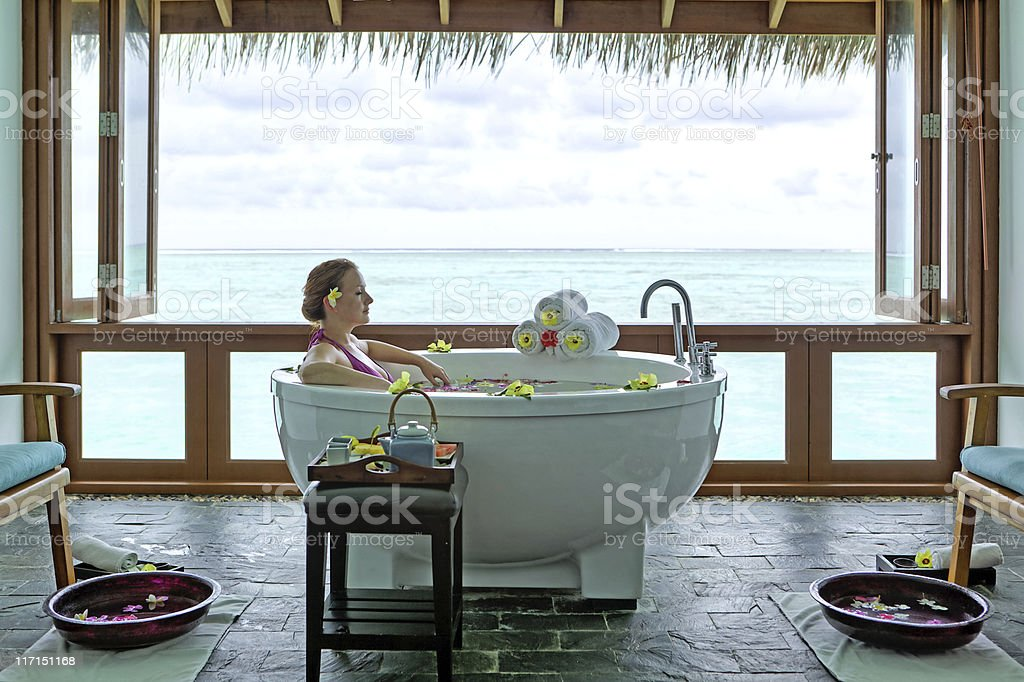 beautiful woman relaxing in spa jacuzzi royalty-free stock photo