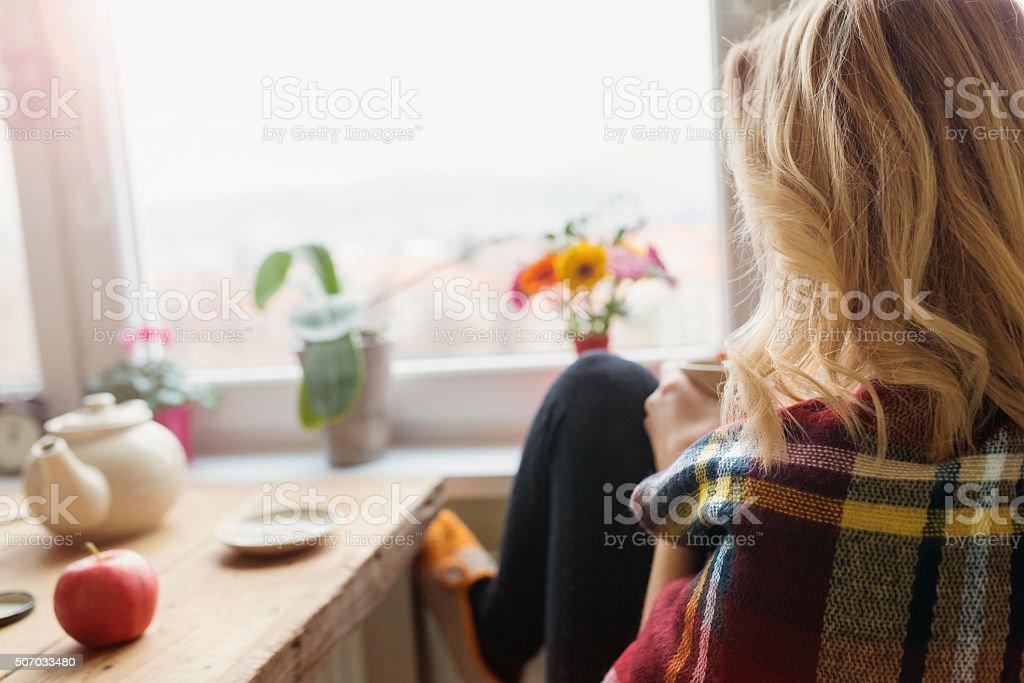 Beautiful woman relaxing stock photo