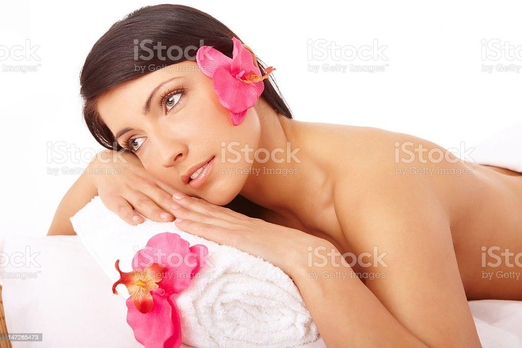 Beautiful Woman Relaxing Spa royalty-free stock photo