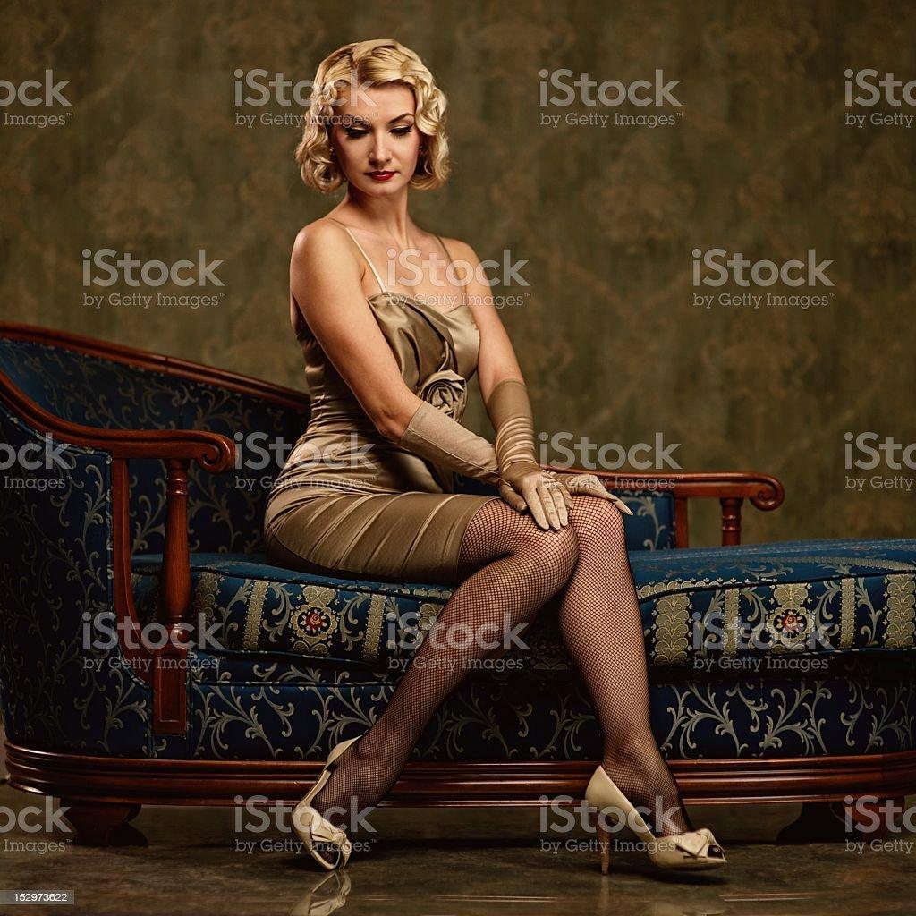 Beautiful woman retro portrait royalty-free stock photo