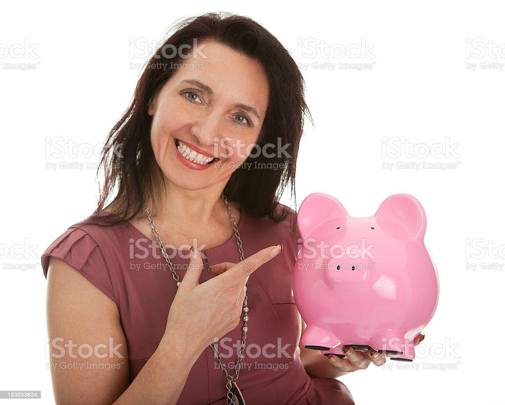 Beautiful woman saving money royalty-free stock photo