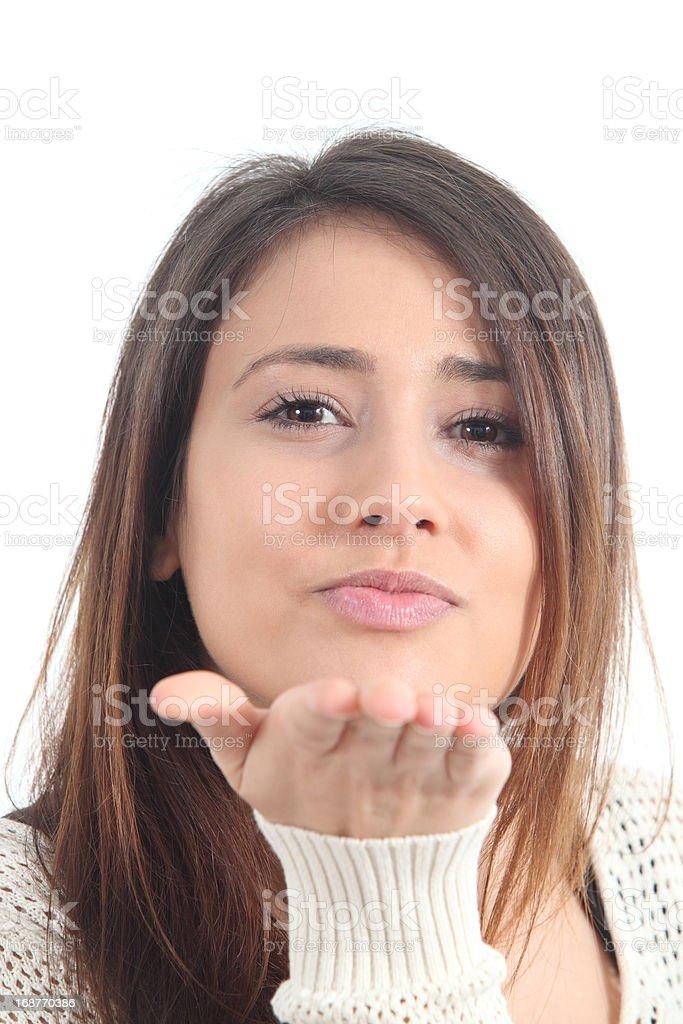 Beautiful woman sending a kiss royalty-free stock photo