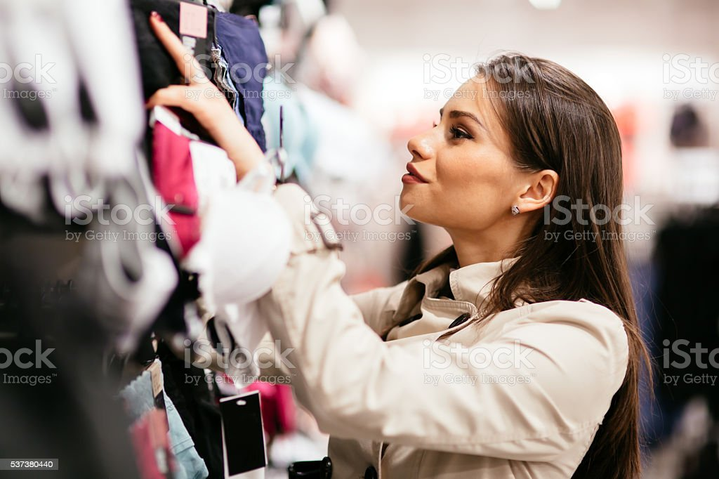 Beautiful woman shopping lingerie stock photo