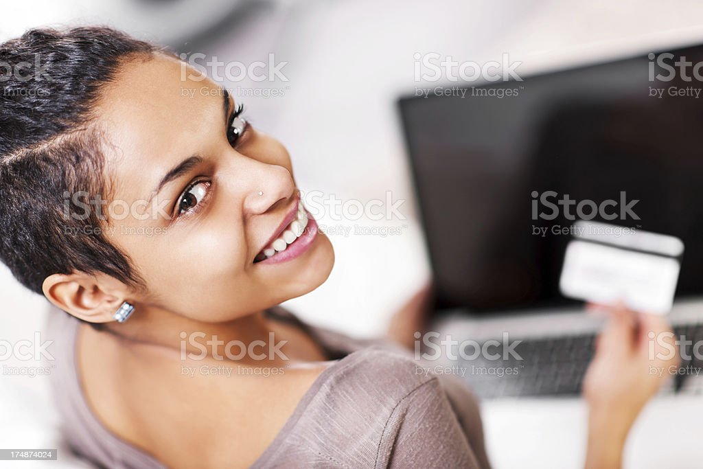 Beautiful woman shopping over the internet. royalty-free stock photo