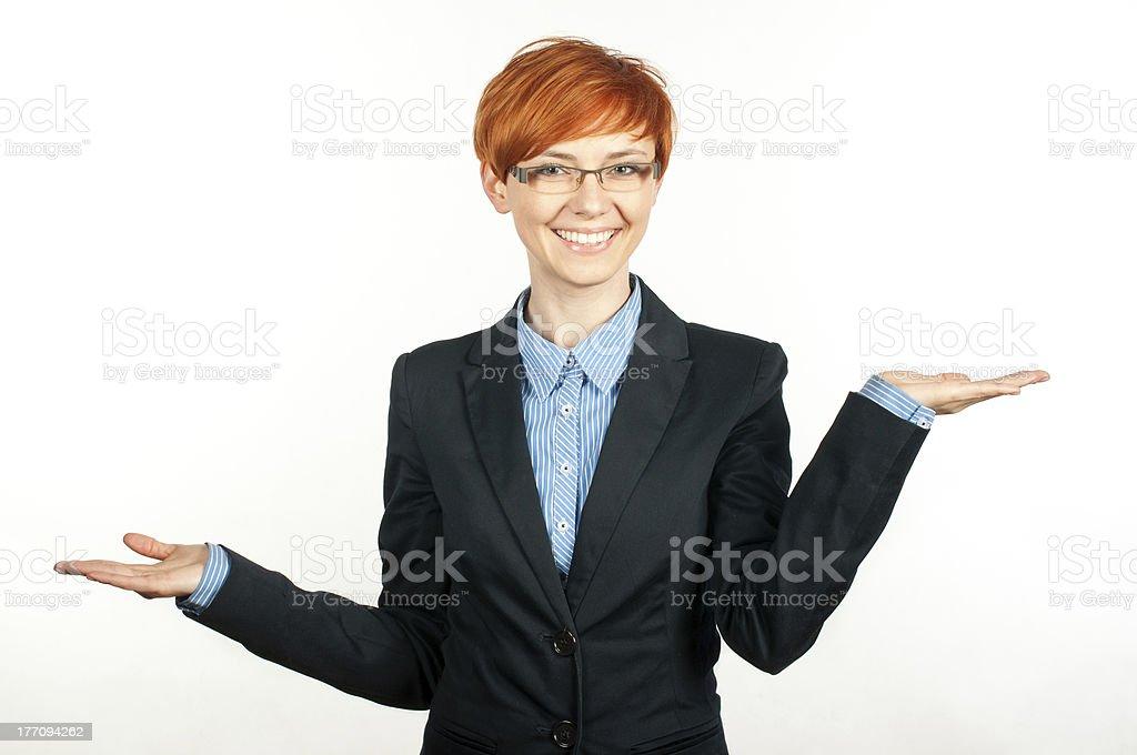 Beautiful woman showin balance concept royalty-free stock photo