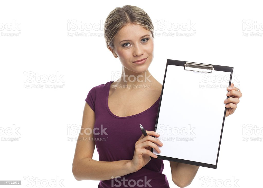 Beautiful woman showing blank white paper royalty-free stock photo