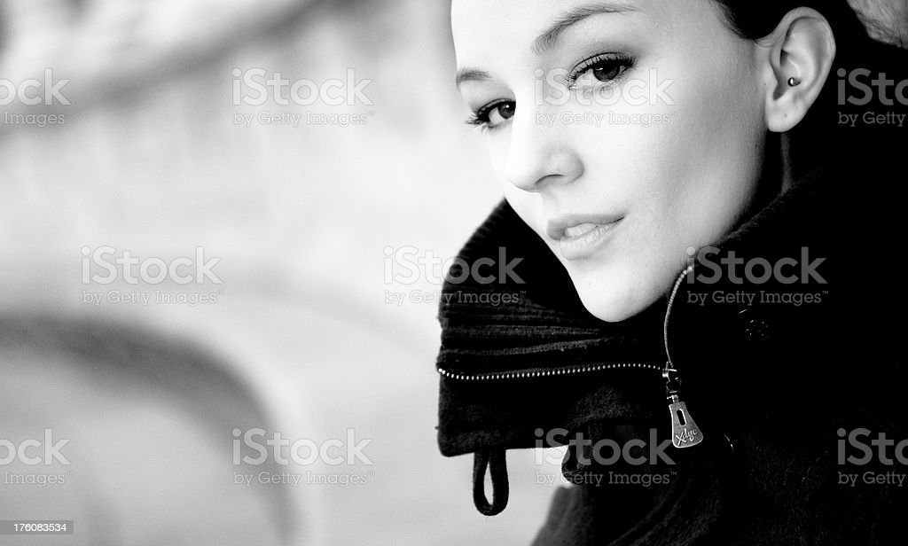 Beautiful woman sitting in Retiro Park, Madrid royalty-free stock photo