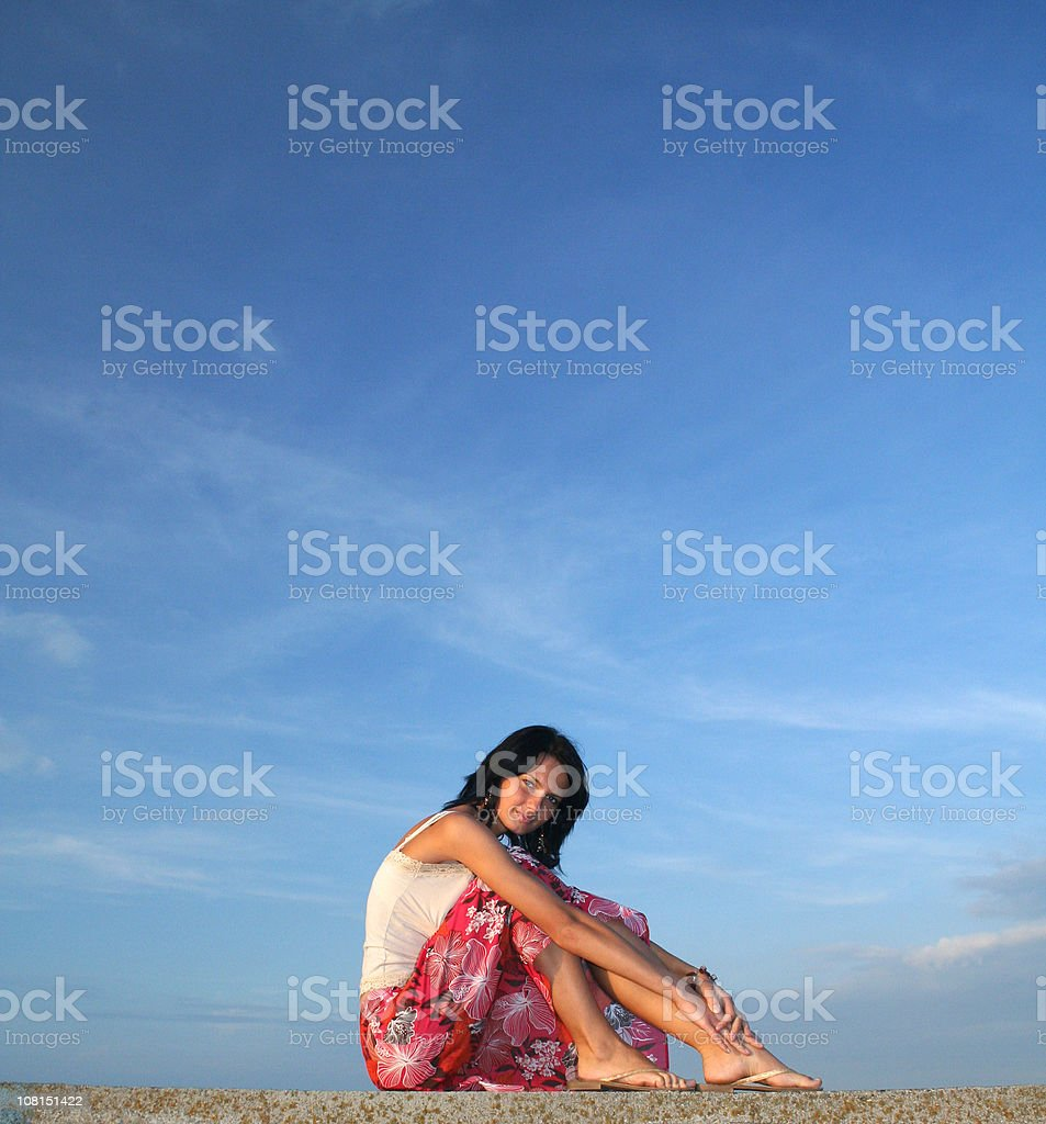 Beautiful Woman - sky in the background royalty-free stock photo
